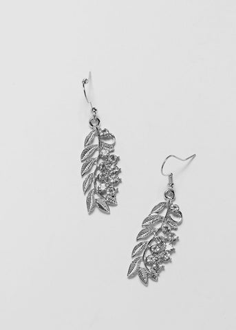Rhinestone Leaf Earrings