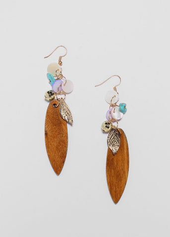 Wooden Leaf Charm Earrings