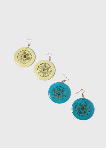 Flower Design Wooden Disc Earrings