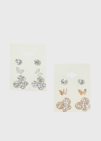 3 Pair Butterfly Gem Stud Set