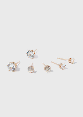 3 Pair Rhinestone Stud Set