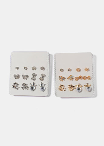 6 Pair Flower & Bow Stud Set