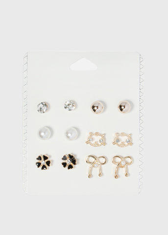 6 Pair Cat & Flower Earring Set