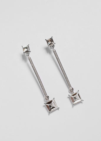 Square Gem Bar Drop Earrings