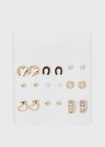 9 Pair Horseshoe & Heart Stud Set