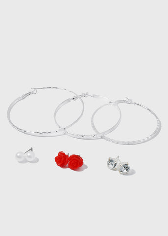 6 Pair Rose & Hoop Earring Set