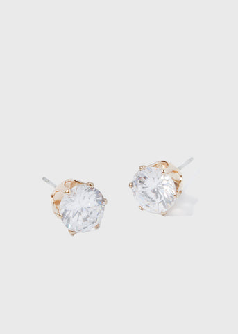 Large Gold Rhinestone Stud Earrings