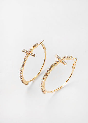 Cross Rhinestone Hoop Earrings