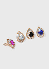 Tear Drop Gemstone Clip-On Earrings