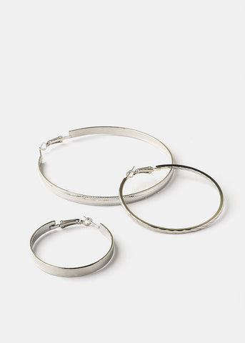 3 Pair Silver Hoop Earrings