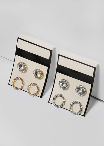 2 Pair Rhinestone Circle Earrings