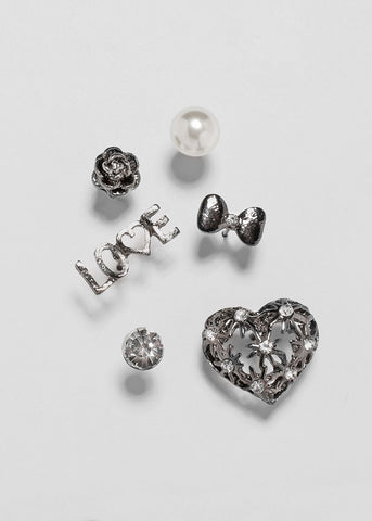 6 Pair Heart & Love Stud Set