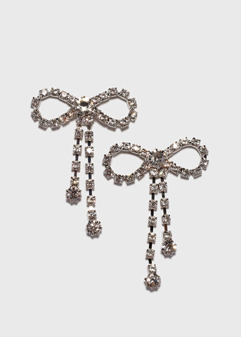 Rhinestone Chain Bow Earrings
