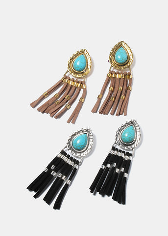 Teardrop Turquoise Fringe Earrings