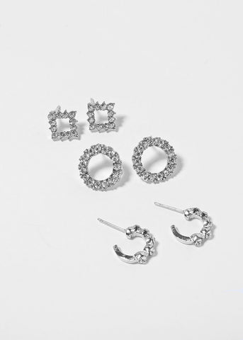 3 Pair Rhinestone Geo Earrings