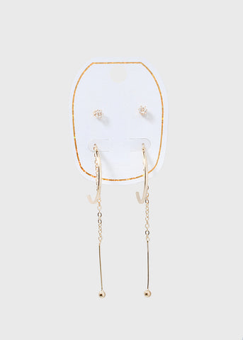 2 Pair Hoop & Chain Earrings Set
