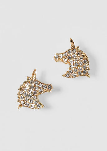 Rhinestone Unicorn Stud Earrings