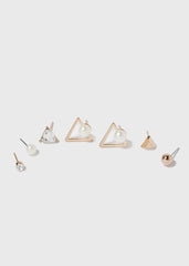 6 Pair Triangle & Pearl Stud Set