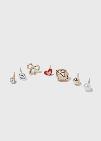 7 Pair Bow & Heart Stud Set