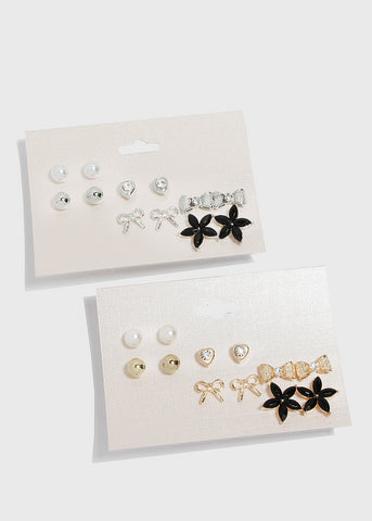 6 Pair Bow & Flower Stud Set