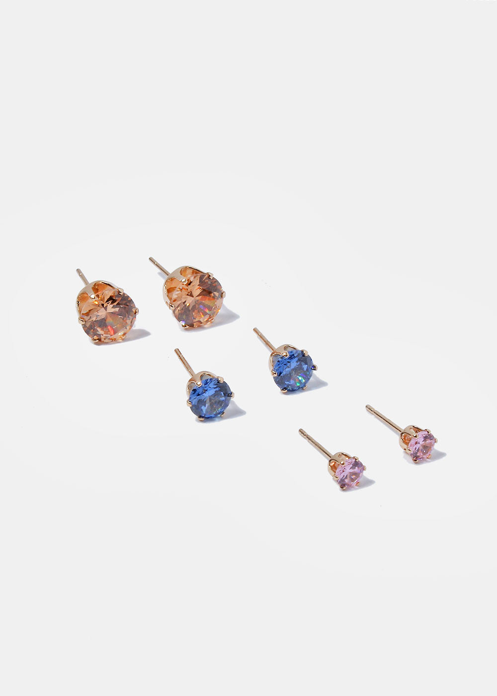 3 Pair Multi-Size Colored Gem Studs