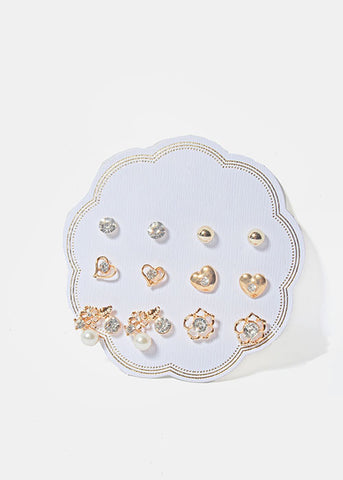 6 Pair Heart & Flower Stud Set