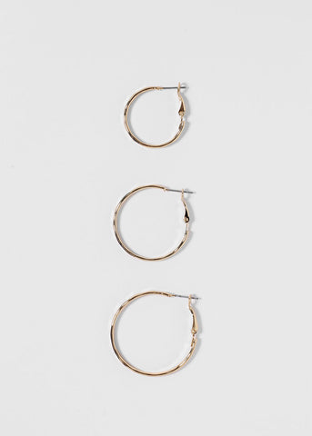 Small Textured Gold Hoop Earrings