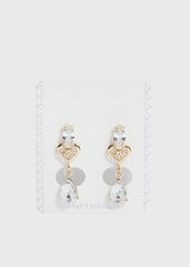 Heart & Tear Drop Gem Earrings