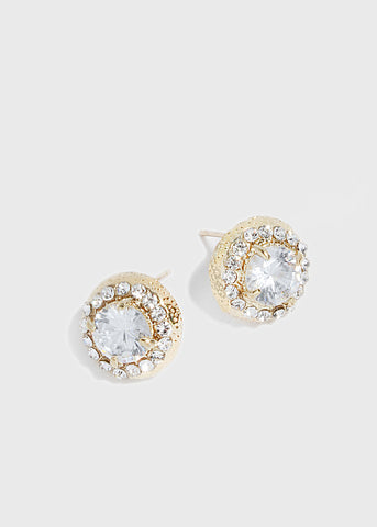 Round Gemstone Stud Earrings