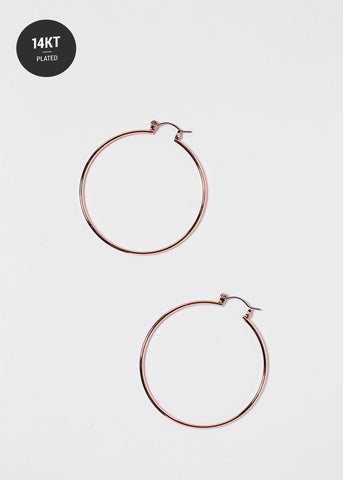 Thin 14 KT Gold Plated Rose Gold Hoop Earrings