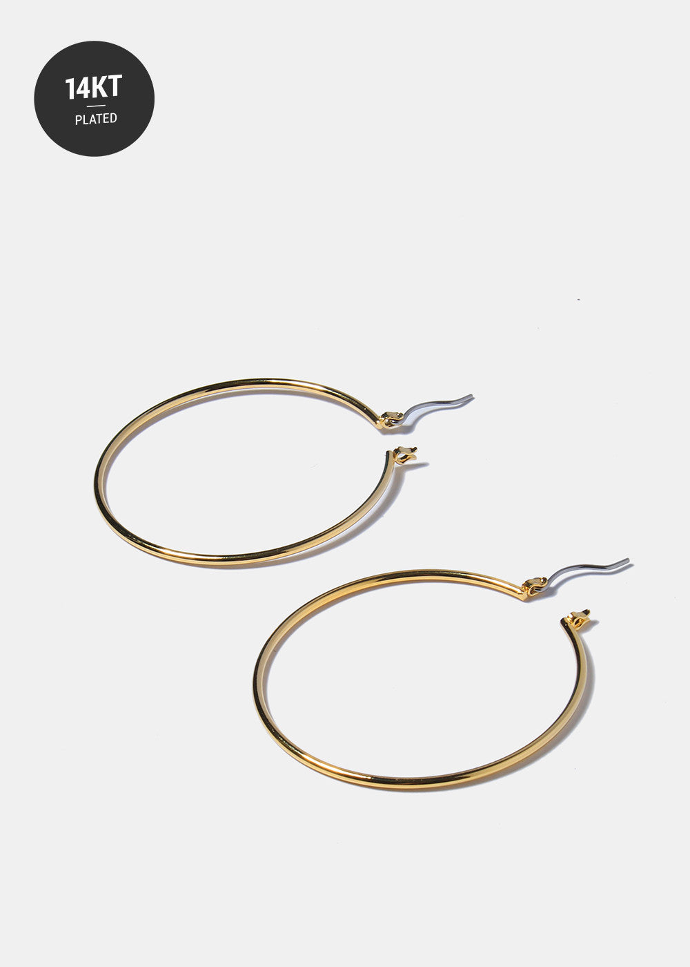 Thin 14 KT Gold Plated Hoop Earrings