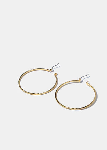 14 KT Gold Plated Ridged Hoop Earrings