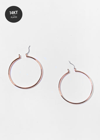 14 KT Gold Plated Rose Gold Hoop Earrings