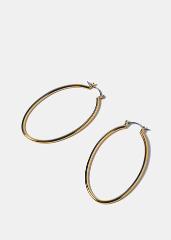 14 KT White Gold Plated Oval Hoops