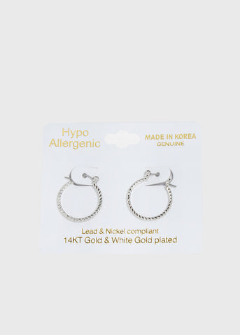 14 KT White Gold Plated Small Silver Hoops