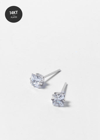14 KT White Gold Plated Small Silver Studs