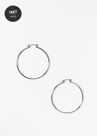 Thin 14 KT White Gold Plated Silver Hoops