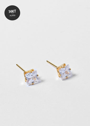 14 KT Gold Plated Medium Rhinestone Studs