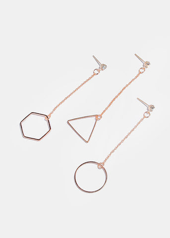 Geo Chain Drop Earrings