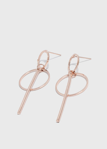 Double Circle & Bar Drop Earrings