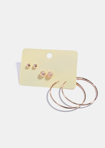 3 Pair Hoop & Ball Stud Earring Set