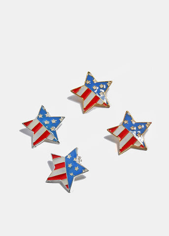 American Flag Star Clip-On Earrings