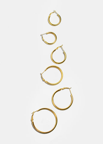 6 Pair Gold Hoop Earring Set