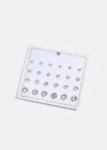 12 Pair Silver Stud Earring Set