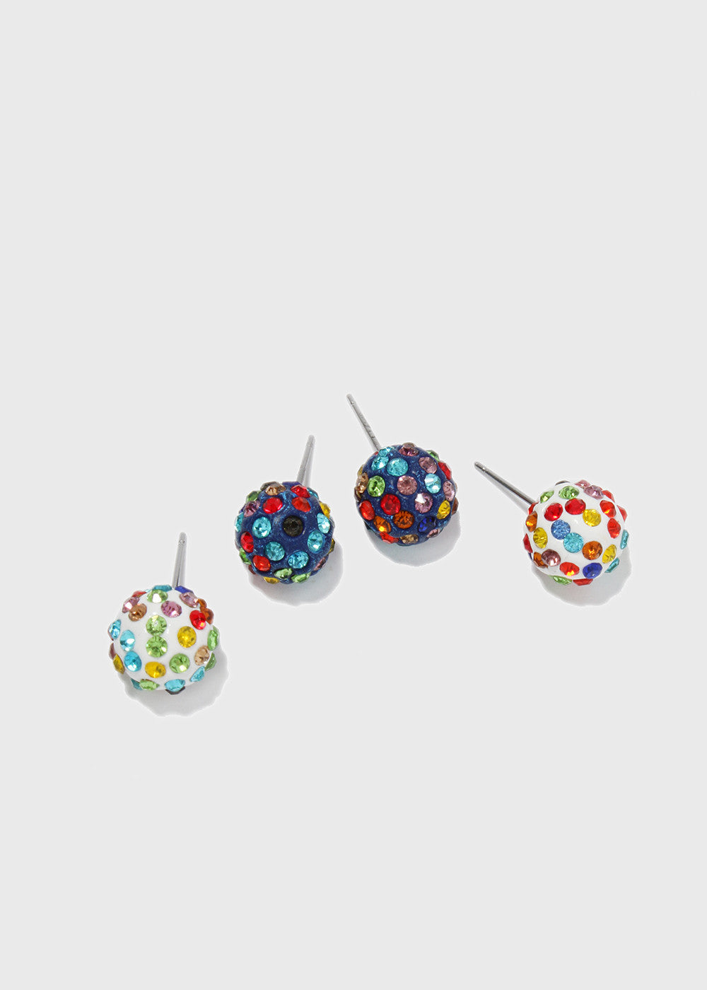 3 Pair Glitter Ball Earring Set