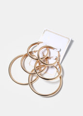 3 Pair Rounded Hoop Earrings