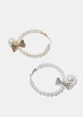Pearl & Bow Hoop Earrings
