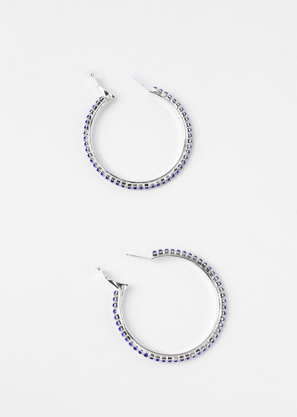 Colored Rhinestone Hoop Earrings