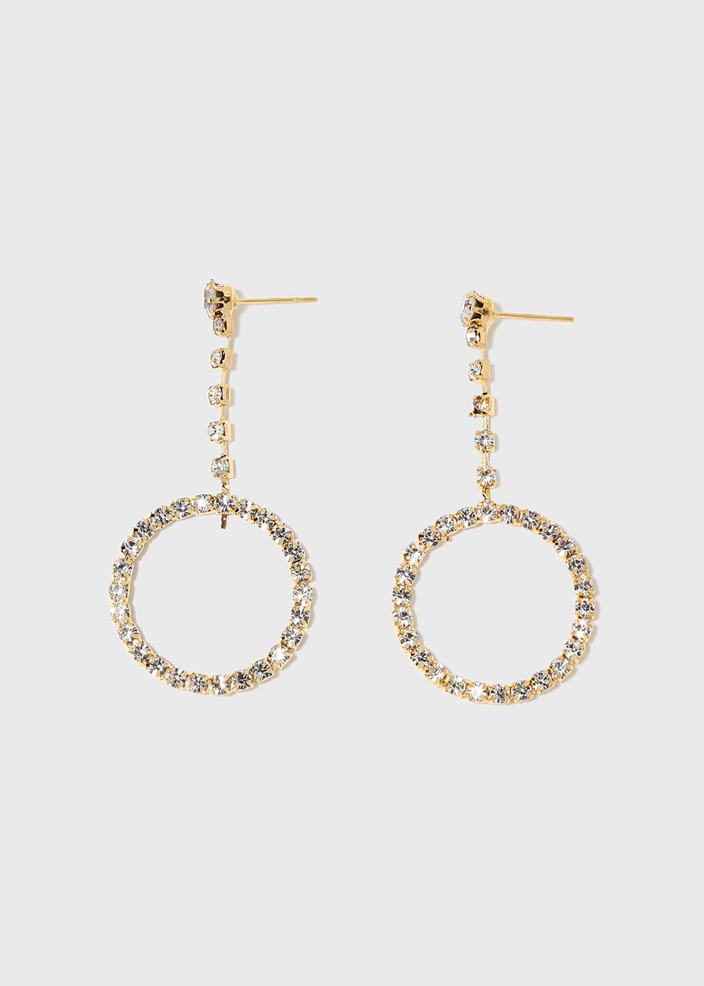 gold e precious semi g earrings drop bk triple circular circle plated
