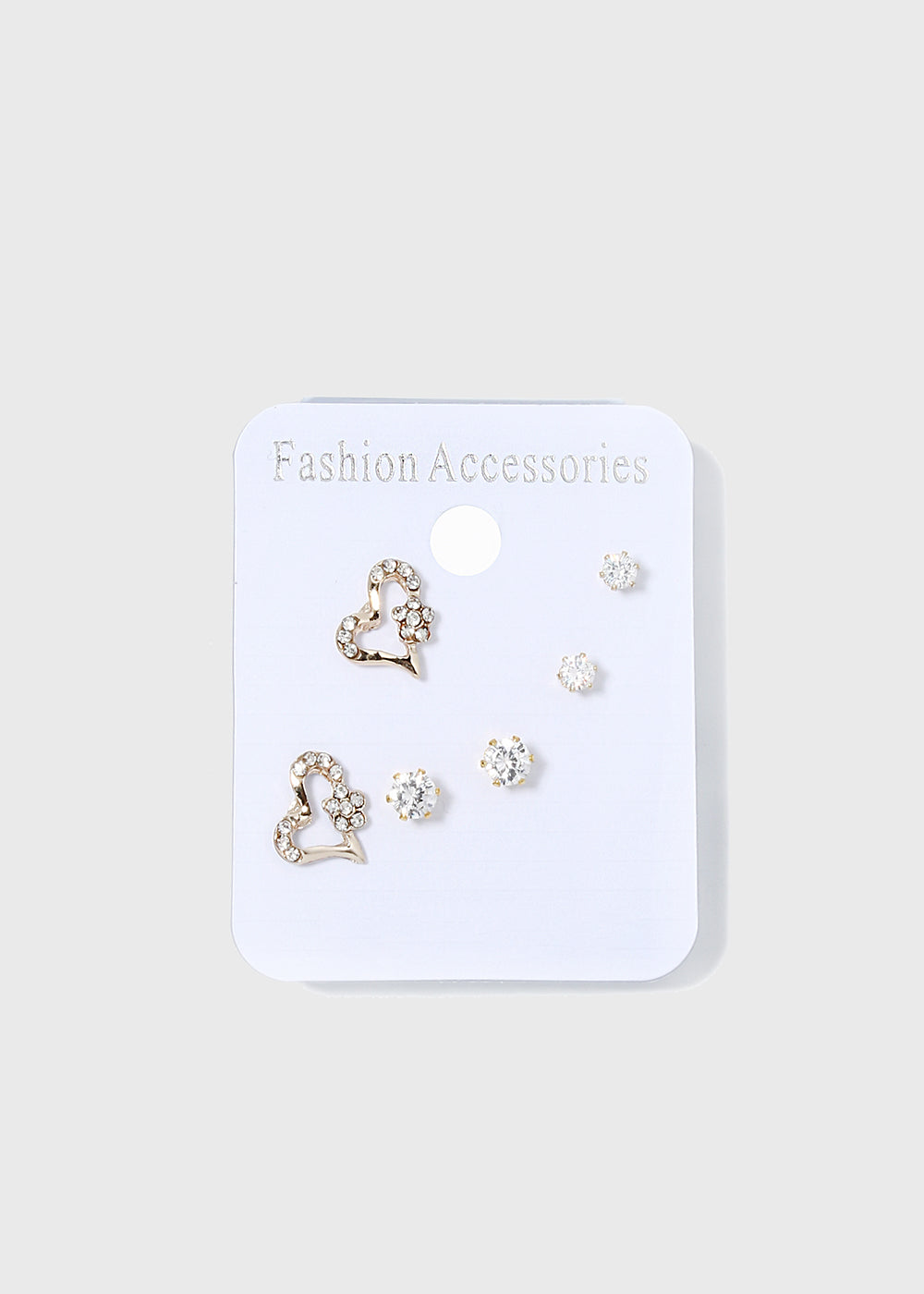 3 Pair Heart Stud Earring Set